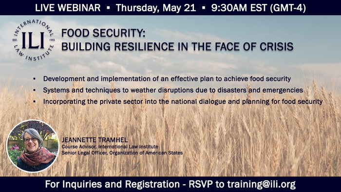 COVID-19 WEBINAR SERIES - FOOD SECURITY: BUILDING RESILIENCE IN THE FACE OF CRISIS - ENABLE DISPALY/LOAD IMAGES TO VIEW THE WEBINAR PICTURE